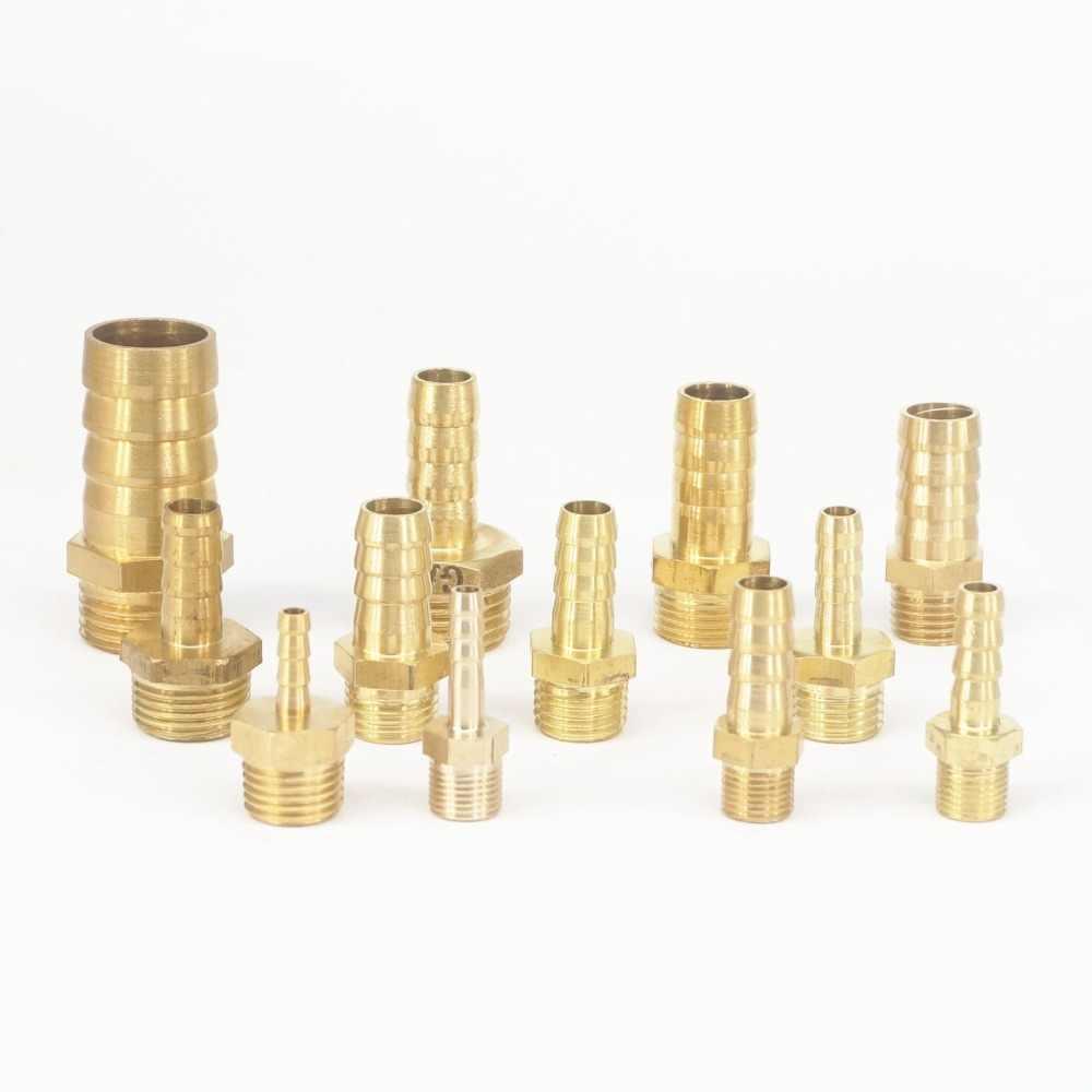 """5pcs ท่อ Barbed I/D 4 มม.6 มม.8 มม.10 มม.12 มม.14 มม.16 มม.19 มม.X 1/8 """"1/2"""" 3/8 """"1/2"""" BSPP ชายทองเหลือง Splicer ขั้วต่ออุปกรณ์ท่อ"""
