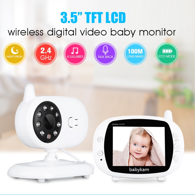 babykam video nanny baby monitor 3.5 inch LCD IR Night Vision 2 way Talk Lullabies Temperature Monitor radio nanny baby monitors