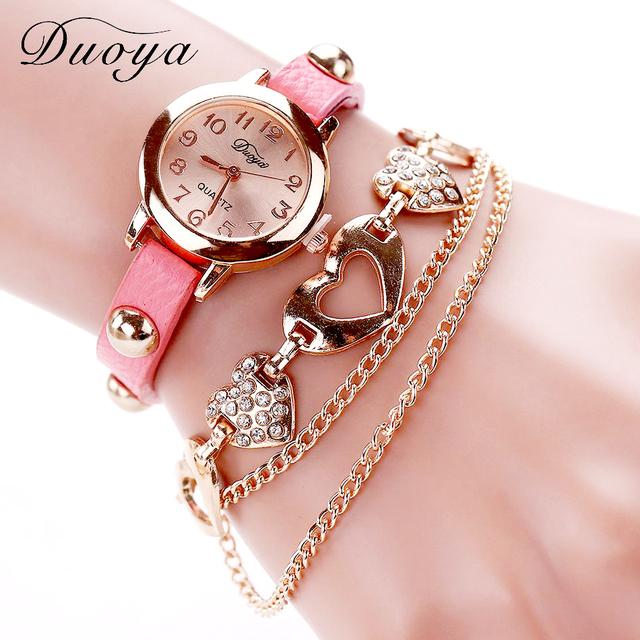 Duoya Brand Fashion Watches Women Luxury Rose Gold Heart Leather Wristwatches Ladies Bracelet Chain Quartz Clock Christmas Gift
