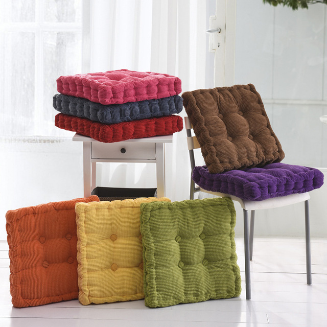thick corduroy elastic chair cushions for kitchen chair solid color