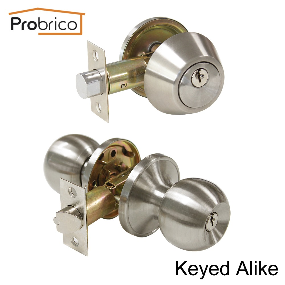 Probrico Round Stainless Steel Keyed Alike Entrance Door Lock With One Side Deadbolt Satin Nickel Door Handle Knob DL607ET-101SN top quality 304 stainless steel interior door lock big 50 small 50 series bedroom door anti insert handle lock