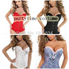 Sexy Lingerie Bustiers Black Satin Embroidered Corset Overbust Corsets Thong PLUS SIZE S M L XL