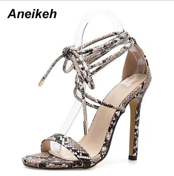Aneikeh Fashion 2021NEW Summer Women's Sandals PU Lace-Up Thin High Cover Heel Shallow Mature Serpentine Dance Solid Pumps 35-40 7
