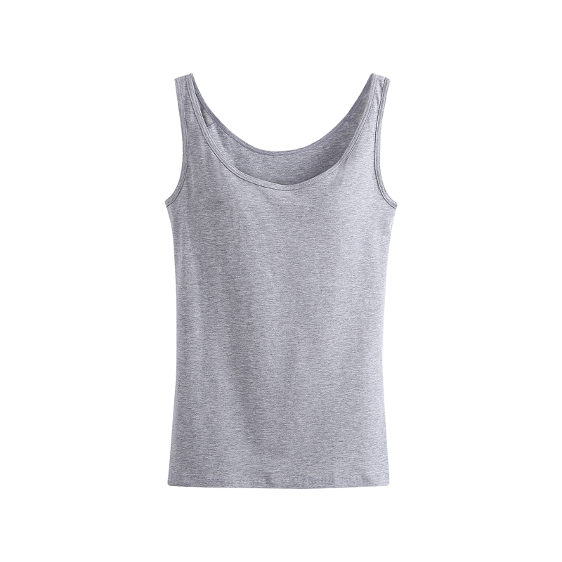 f97ac55c15a48e Women Built In Padded Bra Tank Top Breathable Cotton Camisole Solid Casual  Basic Shirt Women Tops Bra Vest Summer Underwear-in Tank Tops from Women s  ...
