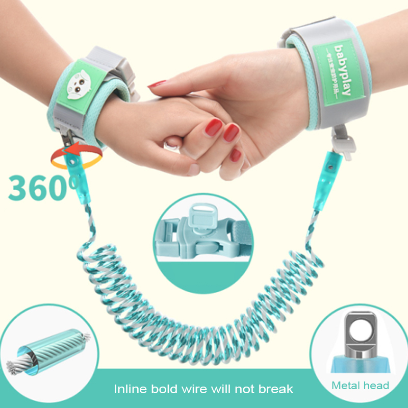 Upgraded 360-degree Rotating Kids Anti Lost Wrist Band Leash For Children Safety Reflective Anti-Lost Bracelet For Baby Walker