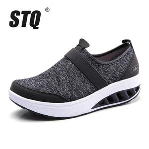 Image 2 - STQ 2020 sonbahar kadın Sneakers ayakkabı düz platform ayakkabılar kadınlar nefes örgü rahat ayakkabılar üzerinde kayma sürüngen yürüyüş ayakkabısı 7697