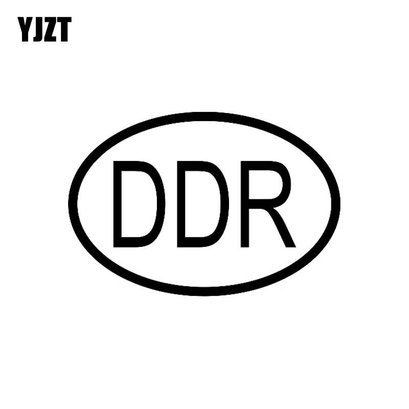 YJZT 13.6CM*9.3CM DDR Germany Country Code Oval Car Sticker Vinyl Decal Black Silver C10-01196