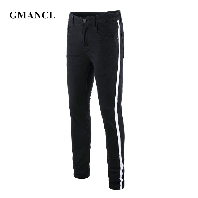 New Streetwear Men Side Striped Ripped Black Skinny Jeans Hip Hop Male Stretch Knee Hole Casual Cotton Pencil Denim Trousers