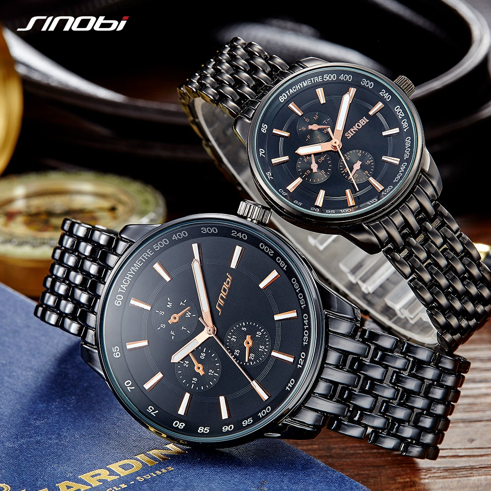 SINOBI 2019 Luxury Brand Watch Men Women Watches Stainless Steel Quartz Clock Geneva Couple Watches Gift For Mens Ladies Relogio