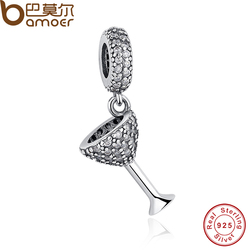 Wineglass Night Out , Clear CZ Beads & Charms Fit Original  Bracelet Necklace DIY Sterling Silver Jewelry PAS110