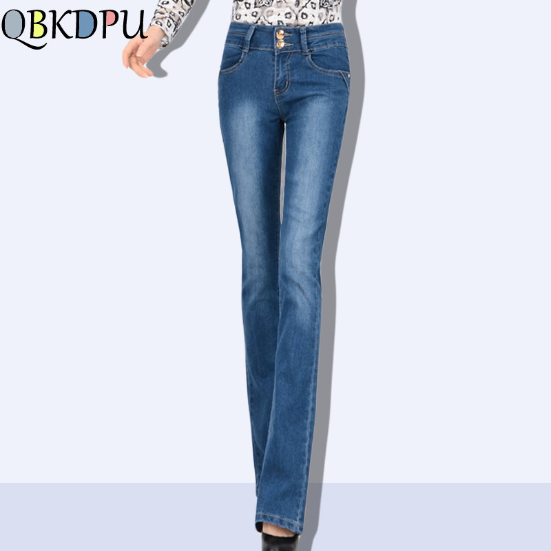 Mom's high waist Jeans Plus Size Female Stretch Slim Denim Flares Pants 2019 New Breathable Fashion Women Bell Bottom Trousers