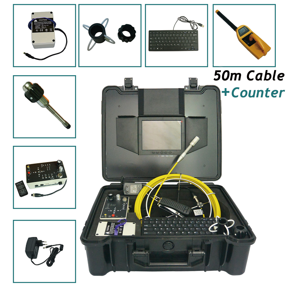 Underwater Sewer Chimney Pipe Inspection Camera waterproof with 50M Cable Meter Counter  512Hz Transmitter And Receiver