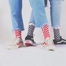 Harajuku Men Plaid Dress Socks Hip Hop Fashion Unisex Black White Red Grid Geometric Cotton Crew Sock(China)