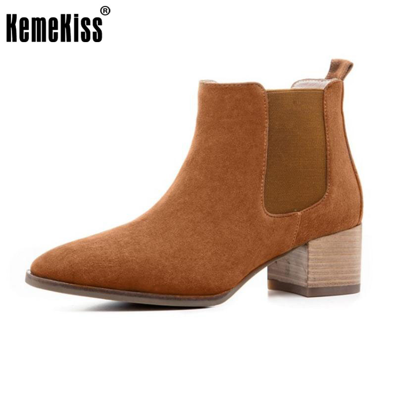 KemeKiss Ladies Genuine Leather Thick High Heels Ankle Boots Female Square Toe Slip On Shoes Women Winter Snow Botas Size 33-40 new autumn winter warm women shoes snow boots square high heels artificial leather top casual female elastic band ankle shoes