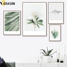 Green Palm Leaf White Flower Quote Wall Art Canvas Painting Nordic Posters And Prints Pictures For Living Room Home Decor