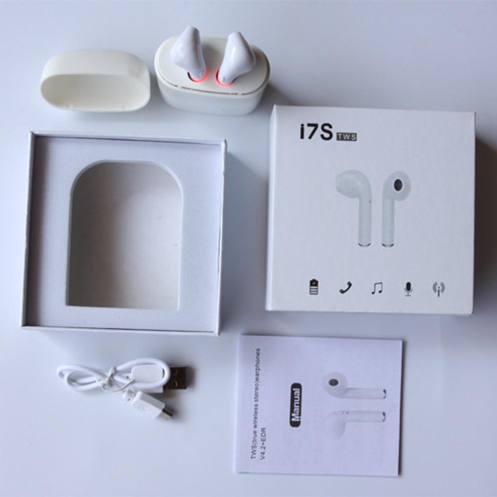 I7s TWS Auricolari con Box Caso del Caricatore di Carica Auricolari Bluetooth Wireless 4.2 musica Cuffia per IOS Iphone 6 7 Xiaomi Samsung