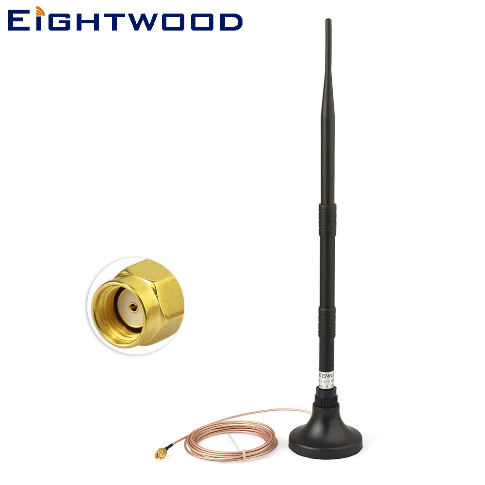 Eightwood Omni WIFI Booster Antenna 300cm Extension Cable 2.4GHz 9dBi RP-SMA Connector