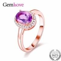 Gemlove 1ct Ametyst Kamień 925 Sterling Silver Rings Biżuteria Cyrkon Rose Pozłacane Obrączki Anel z Pudełkiem 40% FJ052