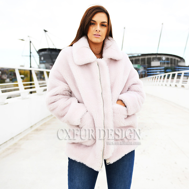 Fourrure Light Street De 02a High Hiver Pink g Chaud Teddy t Cx Laine Femmes Outwear Manteau rouge Mouton qnzfCx