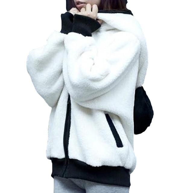 Winter 2017 Korean Winter Lovely Zipper Panda Plush Batwing sleeve Female students Outwear Hoodies Plus size Free shipping