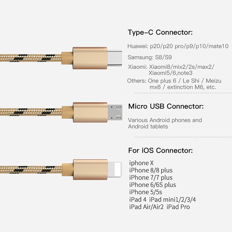 ACCEZZ 3 in 1 USB Charging Cable For Xiaomi Samsung Charger Cord Micro USB Type C Lighting For iPhone X XR XS Max Charge Cables in Mobile Phone Cables from Cellphones Telecommunications
