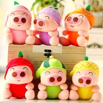 10 pieces a lot small cute fruit pig toys fruit design pig dolls gift about 18cm 0590