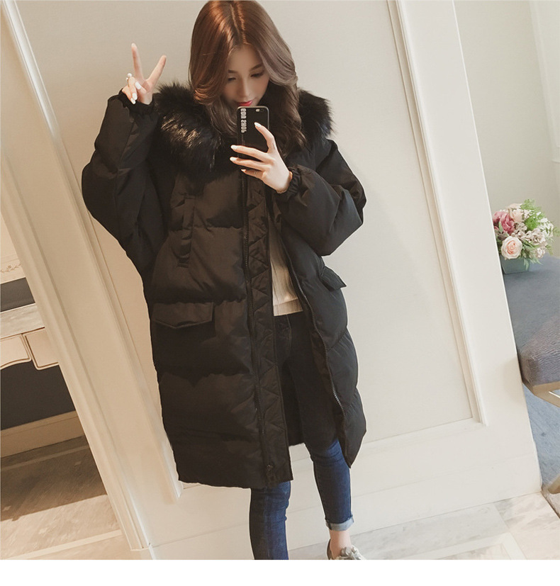 4c5de44a680 2018 Winter Women Long Down Jacket Thick Warm Coat Fur Collar White Duck  Down Parkas Coat Female Hooded Pockets Snow Outwear