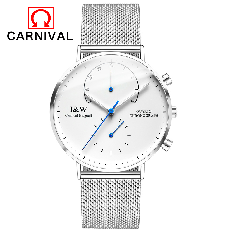 Men Watches CARNIVAL Top Brand Luxury Ultra Thin Clock Male Steel Strap Waterproof Quartz Watch Men's Casual Sports Wrist Watch 2017 luxury brand binger date genuine steel strap waterproof casual quartz watches men sports wrist watch male luminous clock