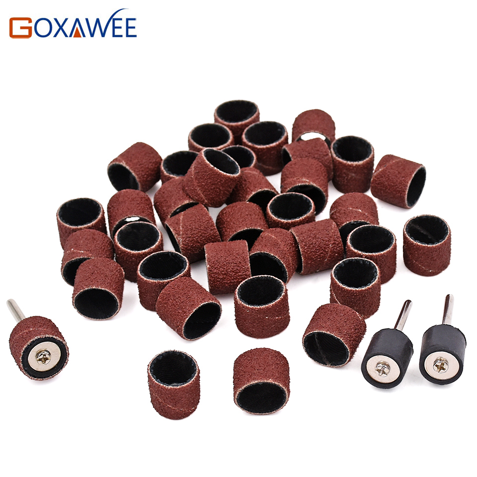 100pcs 6.35mm 1//4 Sanding Bands Sleeves /& 2 Mandrels For Rotary Tools
