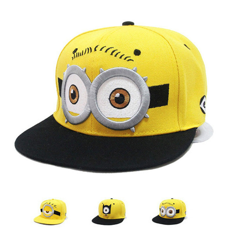 [HEAD BEE] 2018 Fashion Baseball Cap Snapbacks Children Cartoon Minions Hat Embroidery Big Eye Casquette for Boy and Girl