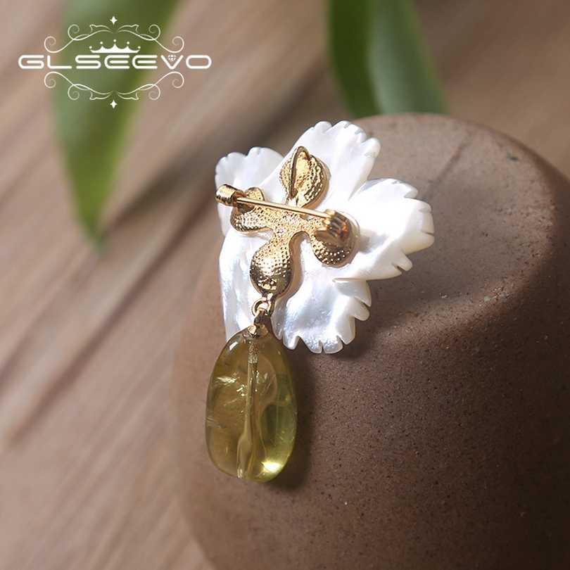 XlentAg kamień naturalny Ceromel chalcedon broszka Pins matka perła kwiat broszki dla kobiet podwójnego użytku luksusowe biżuteria GO0150