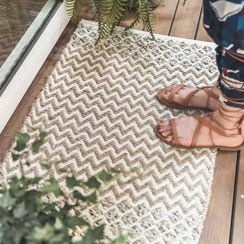 Tapis de salon maroc en laine unie motif géométrique bleu indien tapis bohême rayure moderne tapis design style nordique