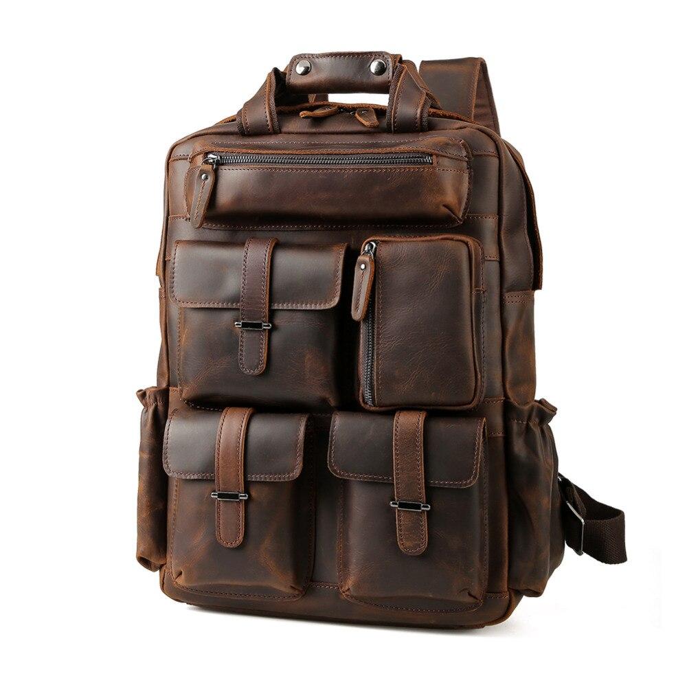 TIDING Weekender сумка большие кожаные рюкзаки Повседневная стильная дорожная сумка коричневая прочная 3583FS
