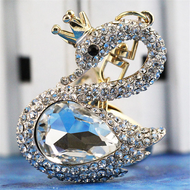 Ys153 new charme cristal Swan Keychain Keyring do anel chave Fob navio livre