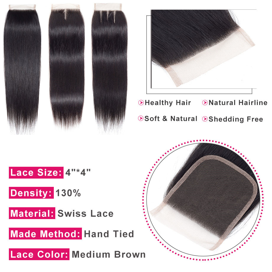 Image 5 - Bling Hair Straight Hair Bundles With Closure 100% Human Hair 3 Bundles With Closure Remy Peruvian Hair Extension Natural Color-in 3/4 Bundles with Closure from Hair Extensions & Wigs