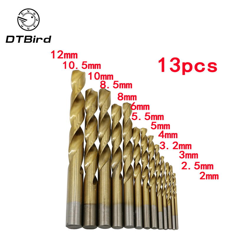 New 13Pcs/set Twist Drill Bit Set Saw Set HSS Titanium Coated Drill Woodworking Wood Tool 2-12mm For Metal hot flexsteel 13pcs hss titanium twist drill bits set to metal 8pcs carbon steel manual black twist wood drill bit set