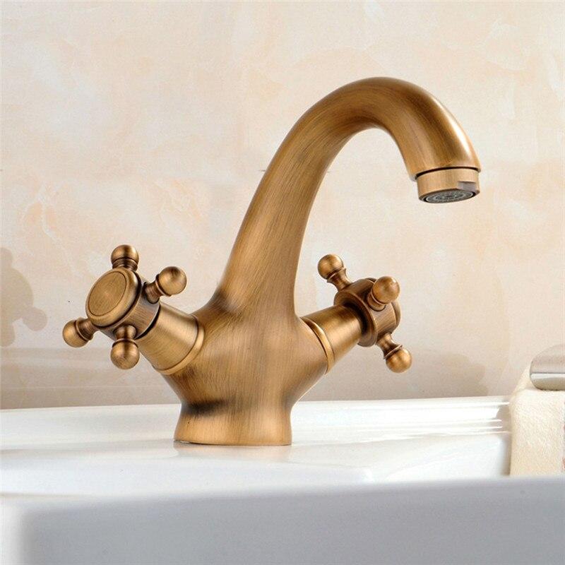 VOGVIGO Vintage salle de bains bassin robinet robinet Antique en laiton vanité évier robinet salle de bains bassin évier d'eau mélangeur or double poignées robinet