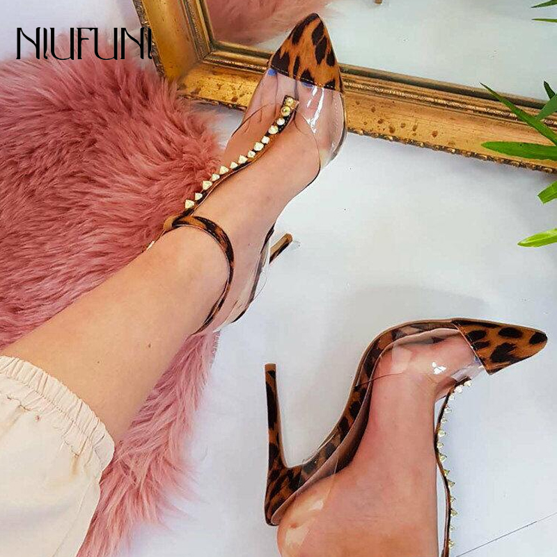 Women Retro T Strap High Heels Sandal Comfortable Pump With Ankle Strap Rivet Decoration Sexy Pointed Toe Buckle Strap Lady Shoe