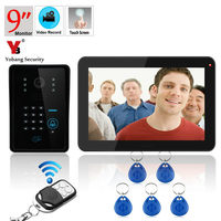 9 Inch RFID Password Keypad Remote Video Door Phone Doorbell Intercom Door Chime Rainproof With Video
