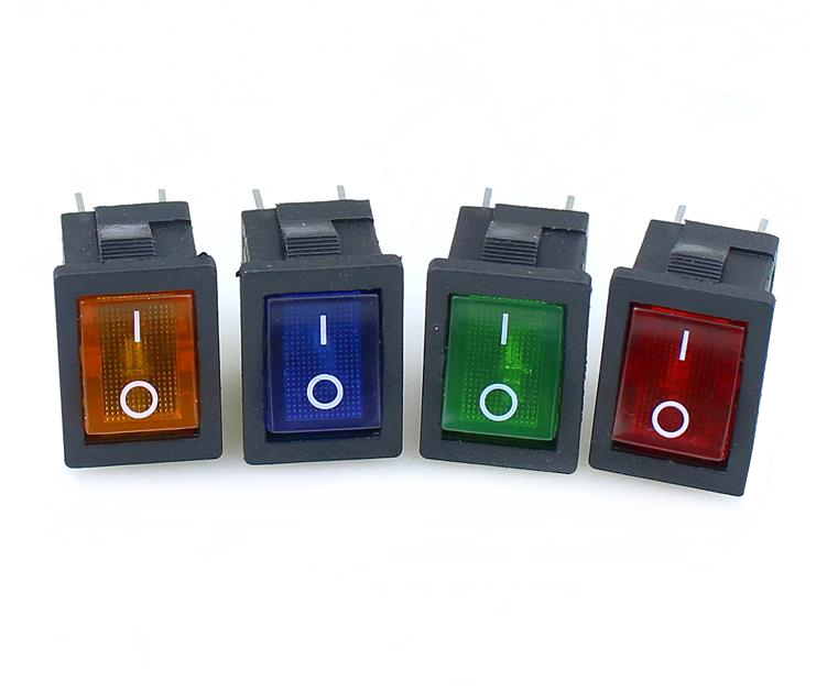 1PCS KCD1 Rocker Switch Power Switch 4Pin On-Off 6A/10A 250V/125V AC Red Yellow Green Blue Black Button Switch