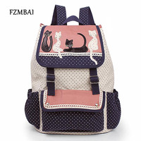 2016 Fashion Women Backpack Multicolor Cat Backpack High Quality Lady Canvas Backpack Travel Bags