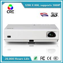 CRE X30011080P Mejor HDMI 3000 Lúmenes Mini dlp 3D Haz de Tiro Corto Proyector cre x3001 Smart Home Theater Projectoer
