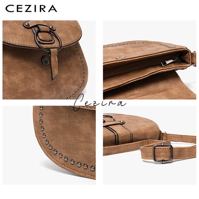 CEZIRA Vegan Leather Crossbody Bag For Women Casual Vintage Messenger Bag Girls Flap Saddle Bags Pu Leather Ladies Shoulder Bags 3