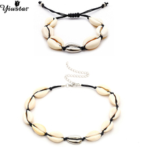 Yiustar Silver Fashion Sea Shell Pendant Necklaces Women Girls Rope Chain Choker Bracelets Ladies Simple Ocean Beach Jewelry
