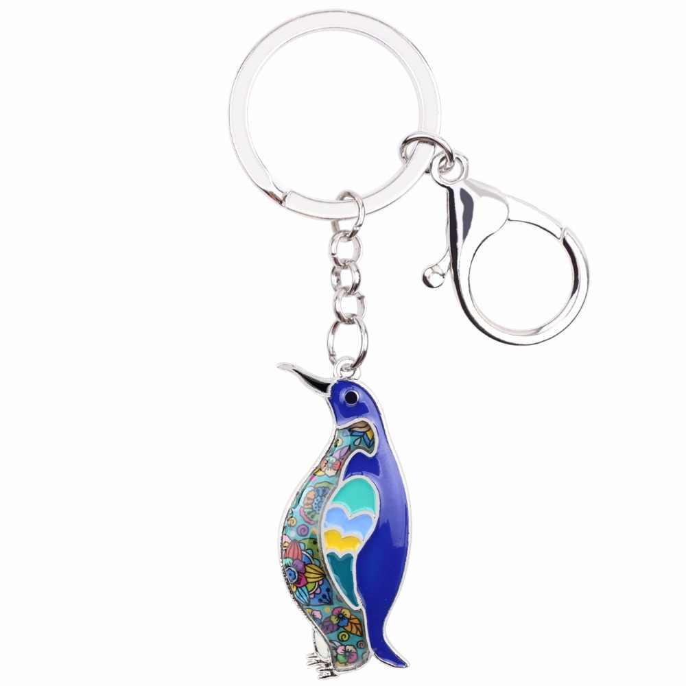 Bonsny океан коллекция животных эмаль пингвин брелок женские брелоки подарок для женская сумка брелок для ключей Автомобильный ключ Подвески Ювелирные изделия