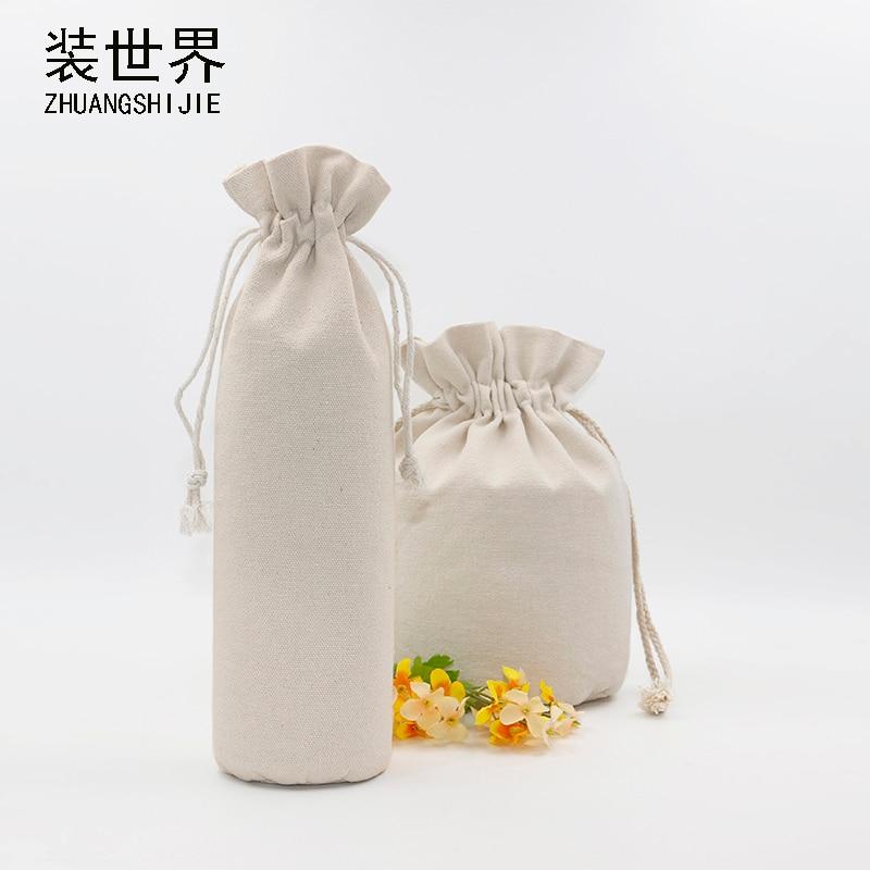 1 Pcs 8*35cm Custom Logo Printed Cotton Storage Canvas Bags Drawstring Bag Food Bottle Pouch Bag Wholesale Price