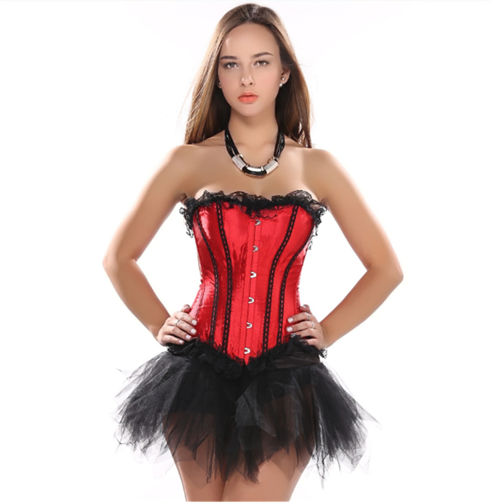 Satin sext corset red lace up boned lingerie and black lace tutu skirt showgirl dance dress body shaper bustier S-2XL