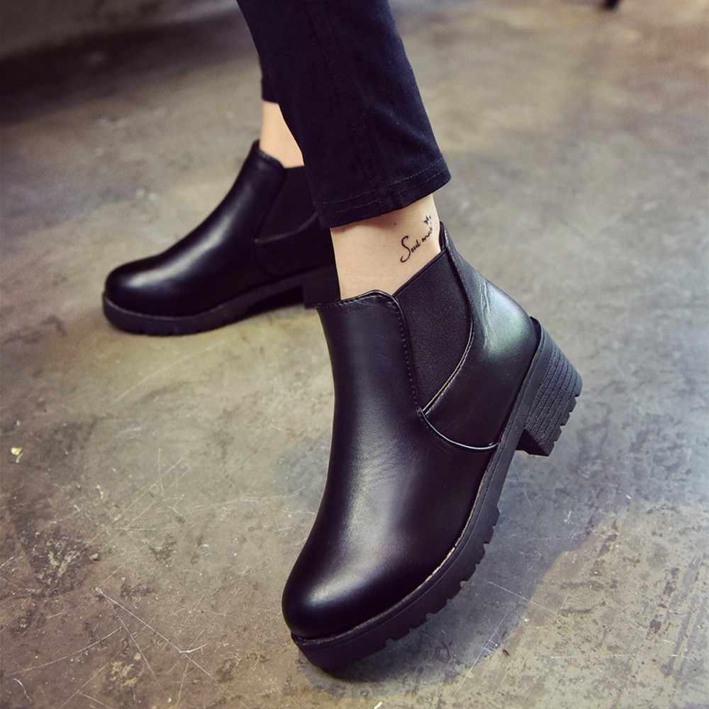 JAYCOSIN kışlık botlar kadın Deri Düşük Düz Blok Topuk Chelsea yarım çizmeler Ayakkabı Su Geçirmez Siyah Platformu Blok Topuk Ayakkabı 715