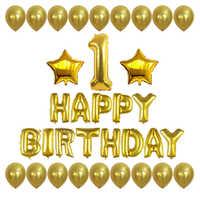 34 pièces/ensemble numéro 1 joyeux anniversaire lettres feuille ballons avec or étoile Ballon bébé douche 1st fête d'anniversaire décoration fournitures