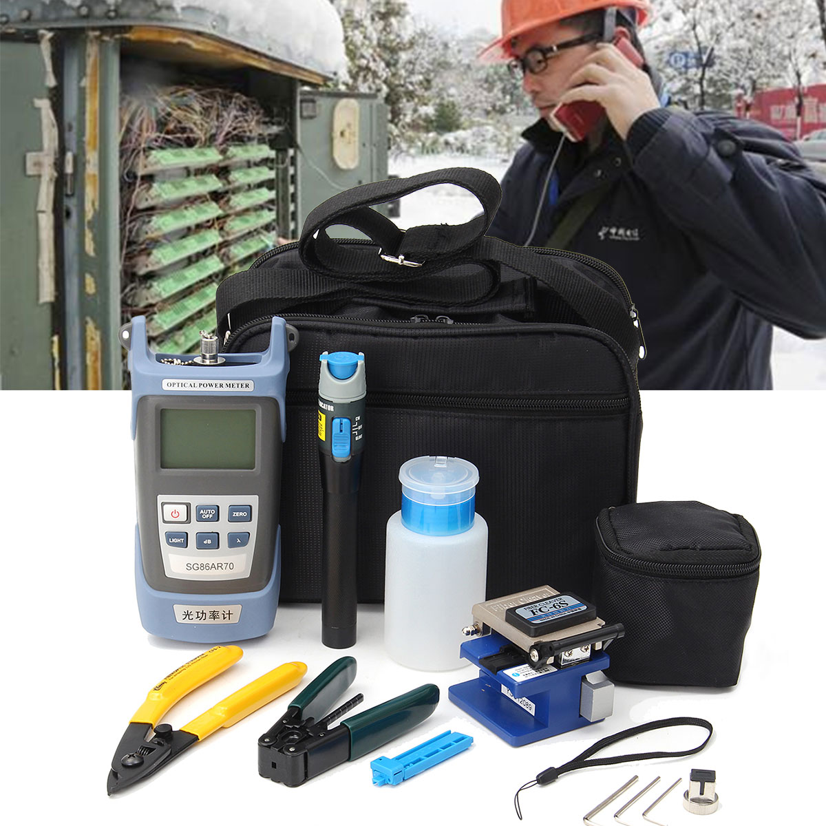 Kit de Ferramentas De Fibra Óptica FTTH pçs/set 12 para FC-6S Fiber Cleaver e Power Meter Óptico 5 km Localizador Visual de Falhas descascador de fios